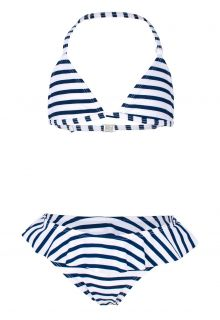 JUJA---Bikini-voor-meisjes---Stripy-Ruches---Wit/Blauw