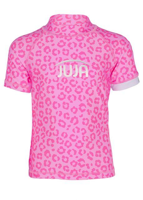 JUJA---UV-Zwemshirt-voor-meisjes---korte-mouwen---Leopard---Roze